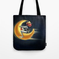Crazy Moon Cow Tote Bag