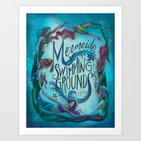 Mermaid Swimming Grounds Art Print