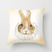 Roller Bunny Throw Pillow