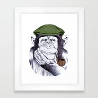 Wise Mr. Chimp Framed Art Print