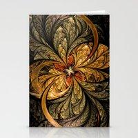 Shining Leaves Fractal Art Stationery Cards