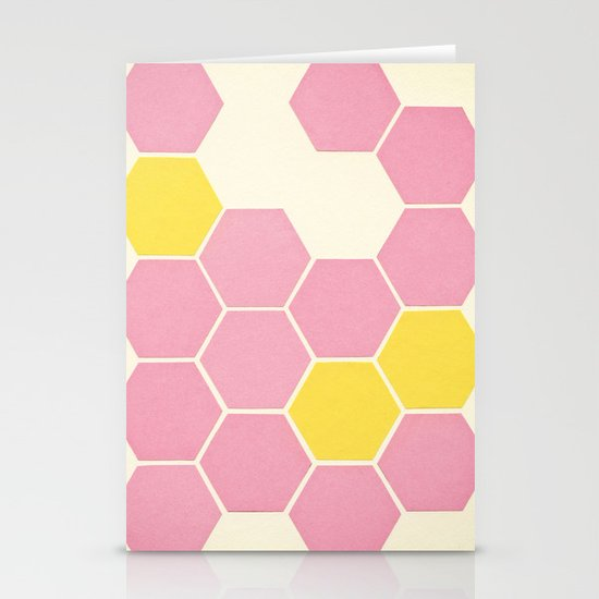 Pink Honeycomb Stationery Card