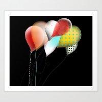Black Retro Balloons Art Print