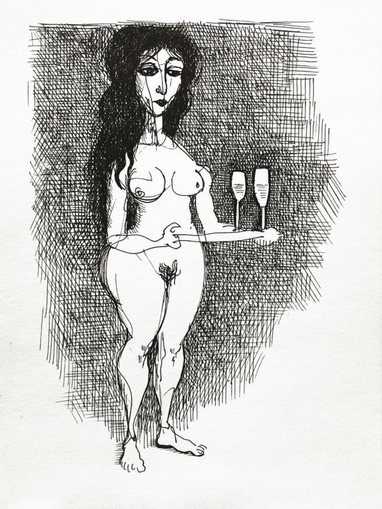 Beautiful nude carrying tray of wine glasses. Art Print