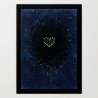 Music Heart old paper Art Print