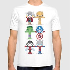 THE ORIGINAL AVENGER'S ROBOTICS Mens Fitted Tee SMALL White