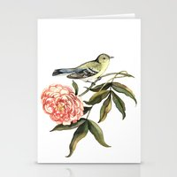 Watercolor illustration with bird and flower Stationery Cards