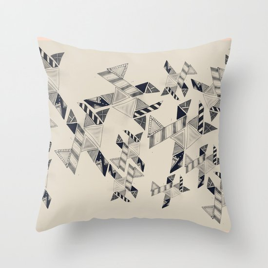 B&W Aztec pattern illustration Throw Pillow