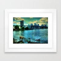 New York Brooklyn Bridge Framed Art Print