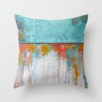Coral Reef - Textured Abstract Art - Acrylic on Canvas Painting Throw Pillow