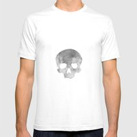 Skull Moon Mens Fitted Tee White SMALL