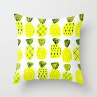 Modern Pineapples Painting Throw Pillow