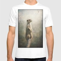 The Watcher on the post... Mens Fitted Tee White SMALL