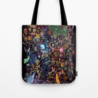 Tote Bag featuring Lil' Marvels by Sheep-n-Wolves Clothing