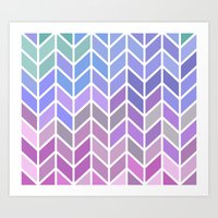 blue & purple chevron Art Print