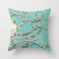 Green Octopus Throw Pillow