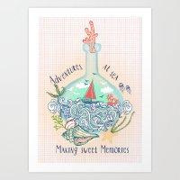 Bottle Ship Art Print