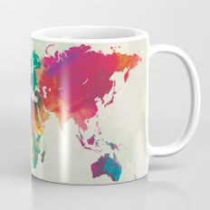 Watercolor World Map Mug