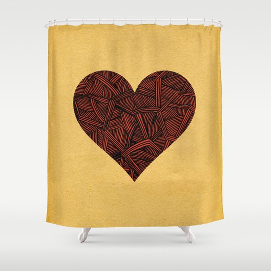 - heart line - Shower Curtain