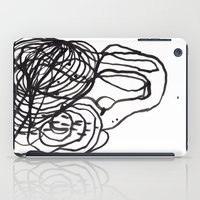 Paint 2 abstract black and white minimal brushstroke japanese modern home decor dorm college  iPad Case