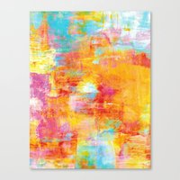 OFF THE GRID Colorful Pastel Neon Abstract Watercolor Acrylic Textural Art Painting Nature Rainbow  Canvas Print