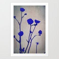 blue silhouettes Art Print