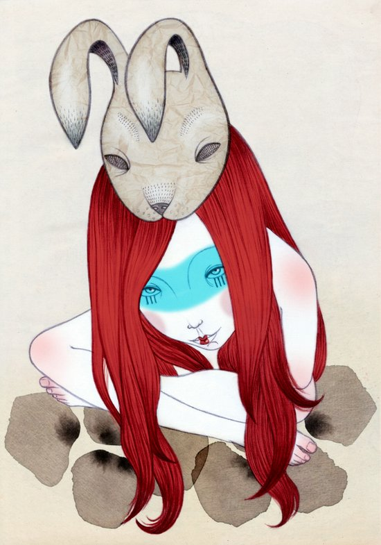 rabbit mask Art Print