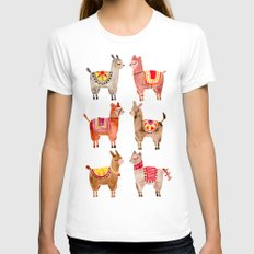 Alpacas Womens Fitted Tee White SMALL