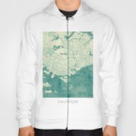 Singapore Map Blue Vinta… Hoody