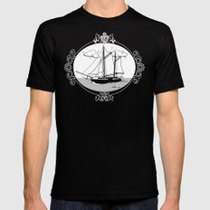 Sailing Ship Oval Mens Fitted Tee Black SMALL