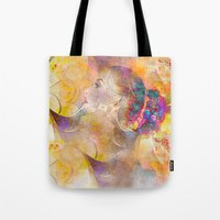 profile woman and flowers Tote Bag