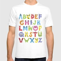 Alphabet Monsters Mens Fitted Tee White SMALL