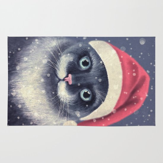 Christmas cat with a mustache Area & Throw Rug