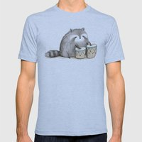 Raccoon on Bongos Mens Fitted Tee Athletic Blue SMALL