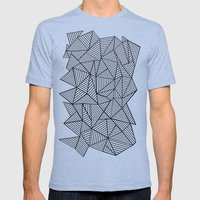 Abstraction Lines #2 Black and White Mens Fitted Tee Tri-Blue SMALL