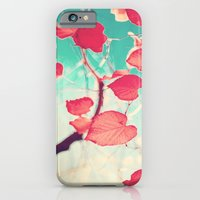 iPhone & iPod Case featuring Our hearts are autumn leaves waiting to fall (Pink - Red fall leafs and brilliant retro blue sky) by AC Photography