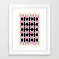 Triangles and lines (pink & grey) Framed Art Print