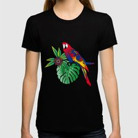 Jungle Flowers Womens Fitted Tee Black SMALL