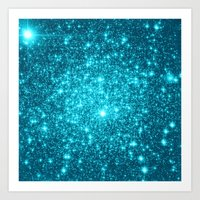turquoise Art Prints featuring Turquoise Teal Sparkle Stars by WhimsyRomance&Fun