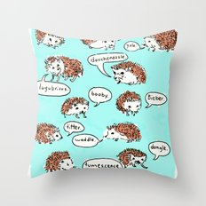 Hedgehogs Say Funny Things Throw Pillow