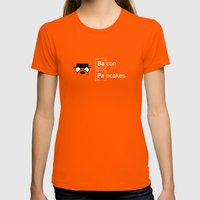 Making Bacon Pancakes Womens Fitted Tee Orange SMALL