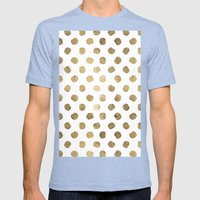 Luxurious Faux Gold Leaf… Mens Fitted Tee Tri-Blue SMALL