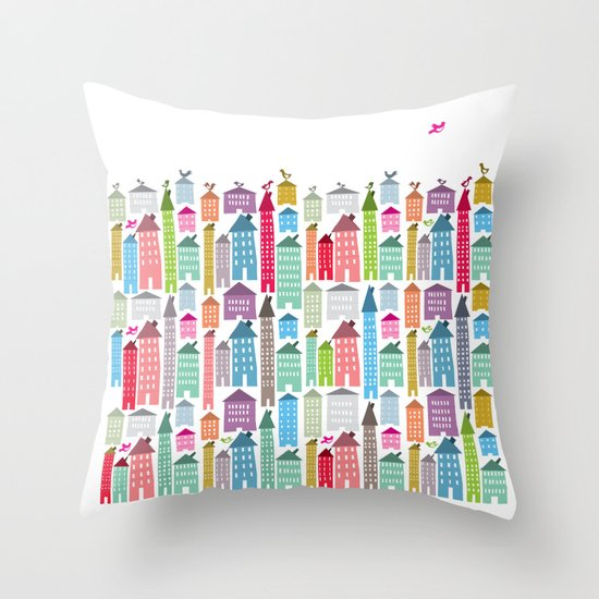 Houses and Birds Throw Pillow