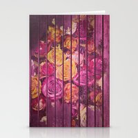 Roses on Wood Pink Stationery Cards