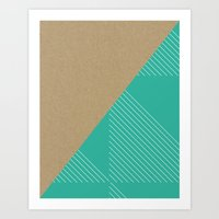 Cardboard & Aqua Stripes Art Print