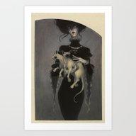 Art Print featuring Monster Kitty by Lenka Simeckova