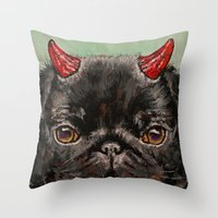 Devil Pug Throw Pillow