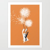 Bunny and Dandelion Bouquet Art Print