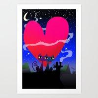 Valentines Cats Art Print