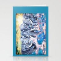Elephants in crashing waves Stationery Cards